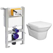 Compact Dual Flush Concealed WC Cistern with Wall Hung Frame & Modern Toilet Medium Image