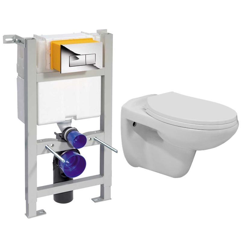 Compact Dual Flush Concealed WC Cistern with Wall Hung Frame & Standard Toilet profile large image view 1
