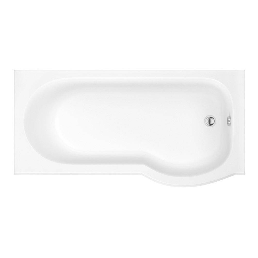 Concerto P Shaped Small Shower Bath - 1500mm with Screen + Panel  Profile Large Image