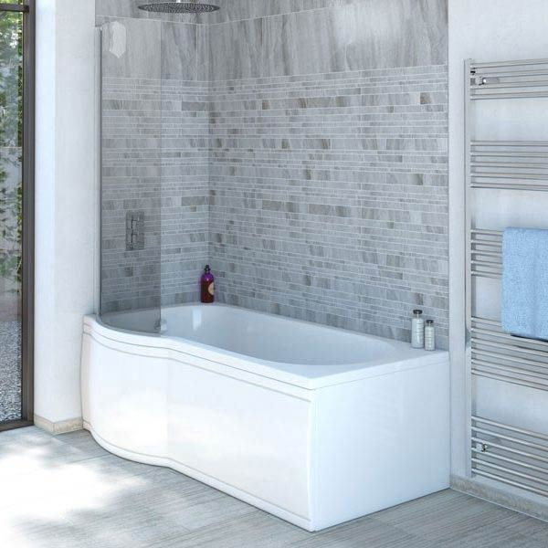 Concerto P Shaped Small Shower Bath - 1500mm with Screen + Panel Large Image