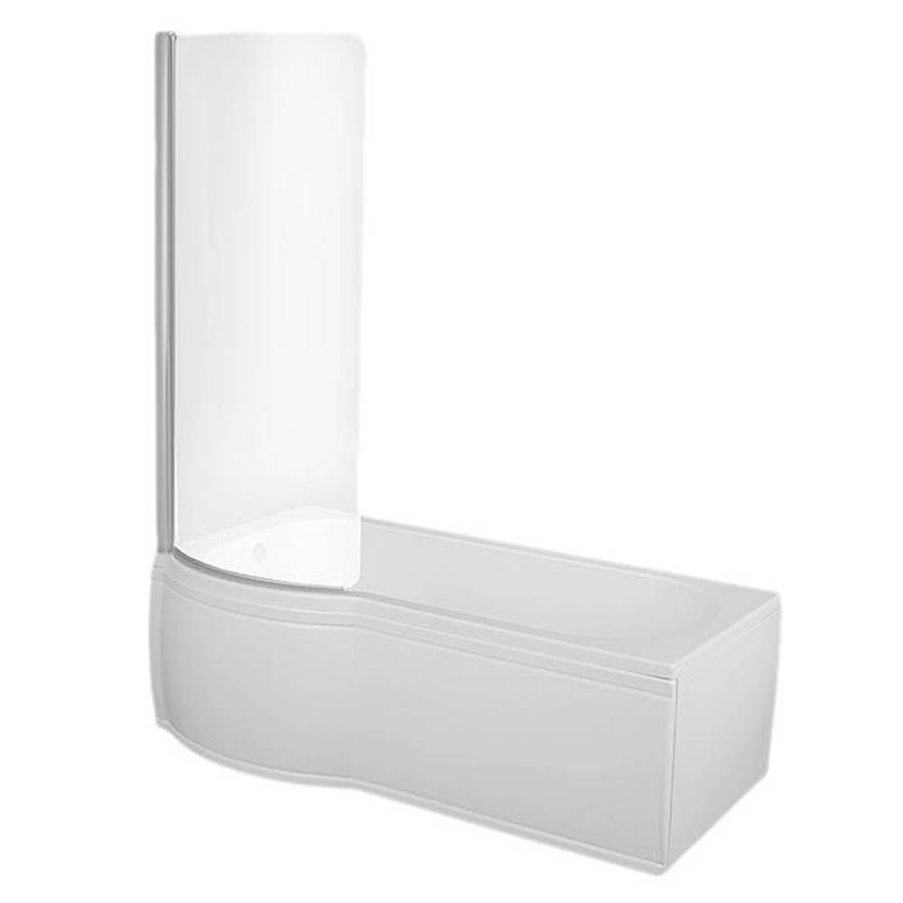 Concerto P Shaped Small Shower Bath - 1500mm with Screen + Panel  Standard Large Image