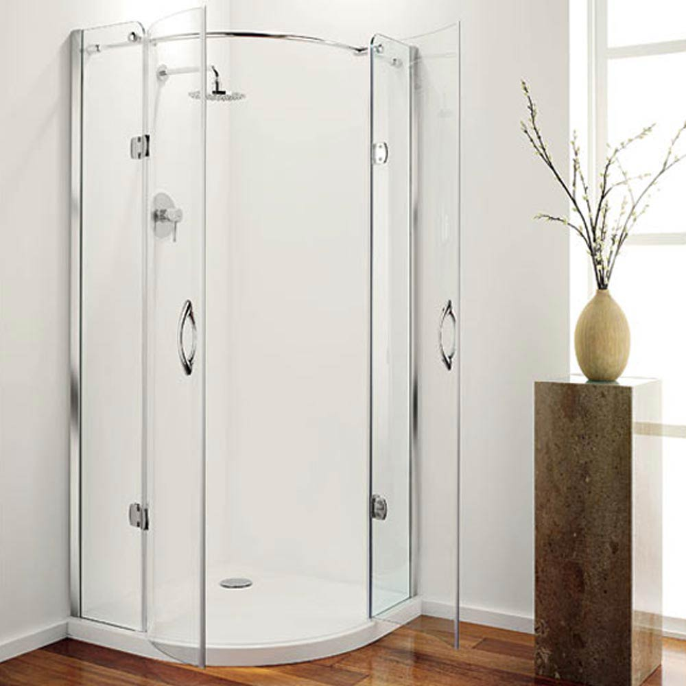 Coram Frameless Premier Hinged Shower Quadrant - 2 Size Options profile large image view 2