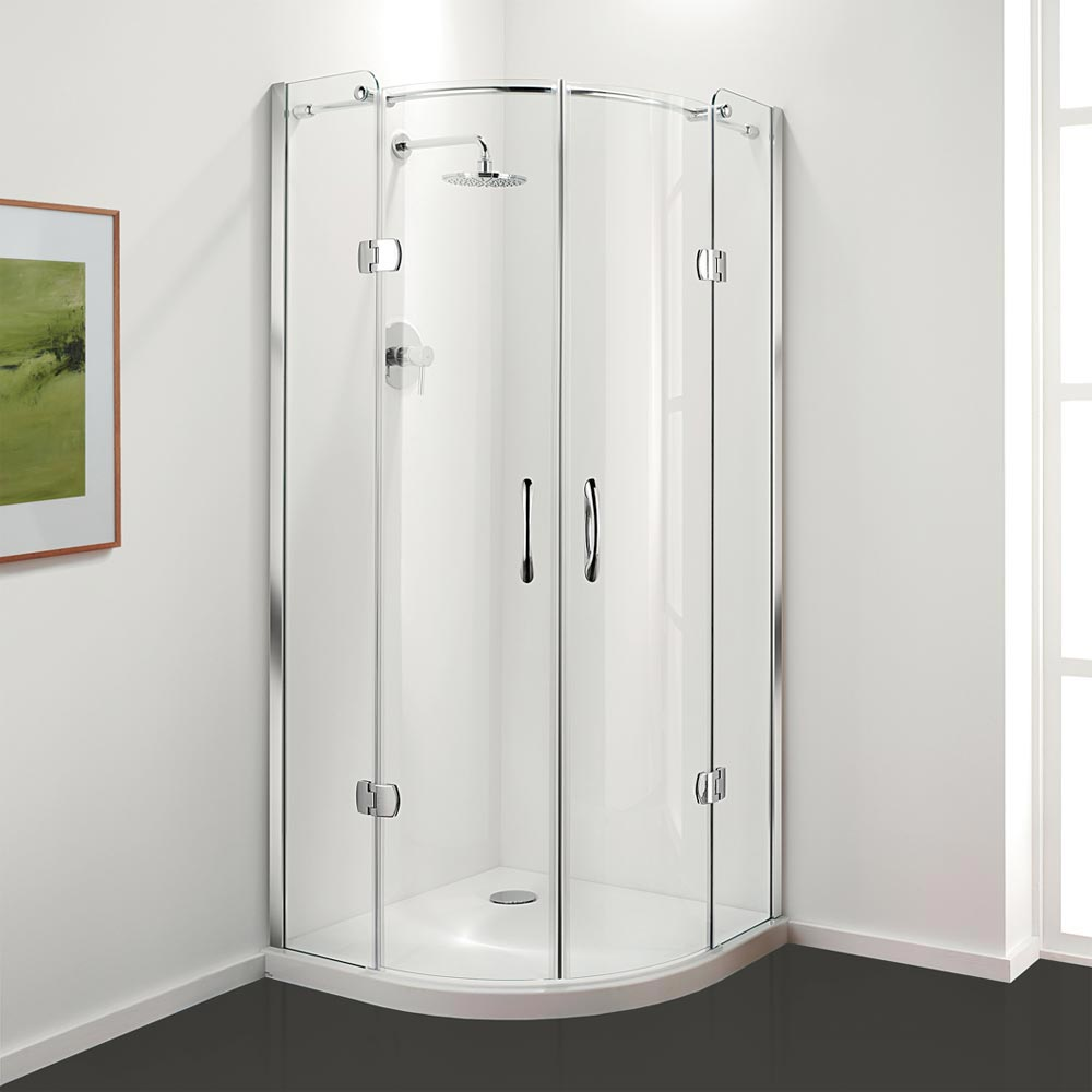 Coram Frameless Premier Hinged Shower Quadrant - 2 Size Options profile large image view 1