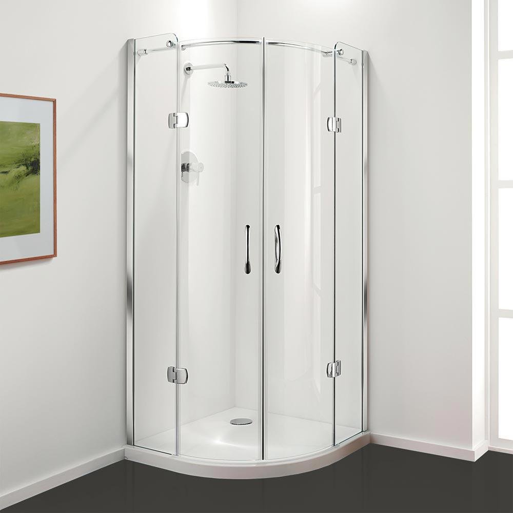 Coram frameless premier hinged shower quadrant 2 size for Door quadrant