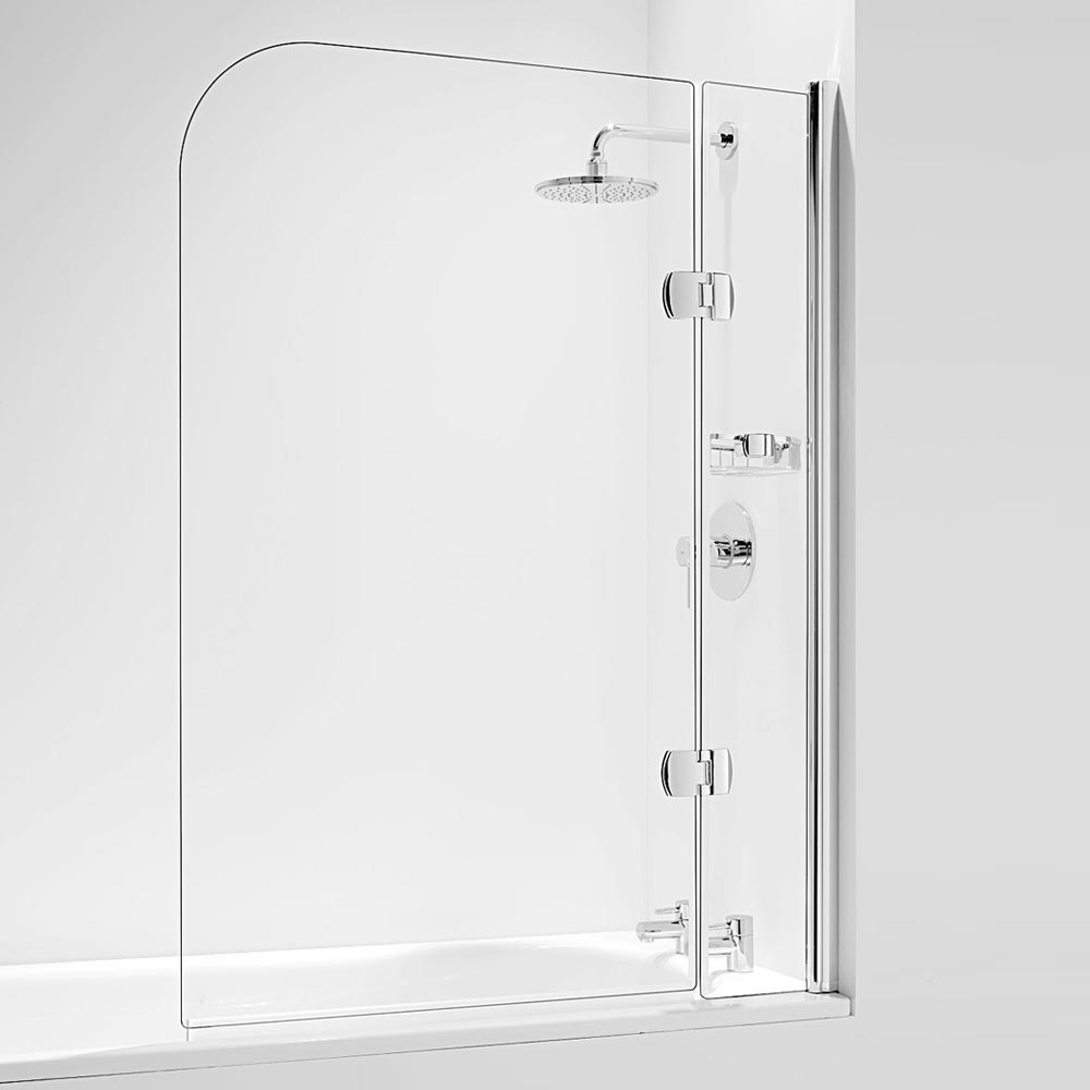 Coram Hinged Curved Bath Screen with Side Panel - Chrome - 2 Size Options Large Image