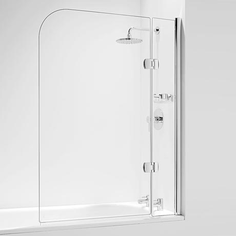 Coram Hinged Curved Bath Screen with Side Panel - Chrome - 2 Size Options