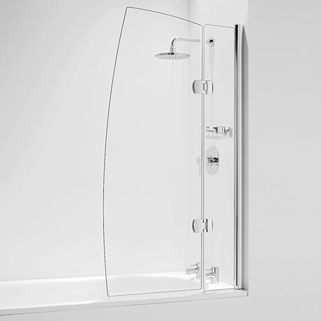 Coram Hinged Sail Bath Screen with Side Panel - Chrome - 2 Size Options