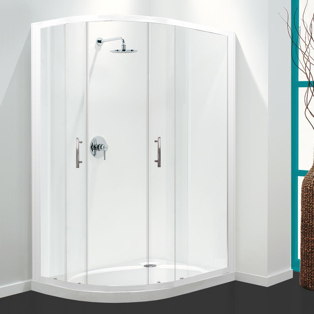 Coram Optima Offset Quadrant Shower Enclosure - White - Various Size Options Large Image