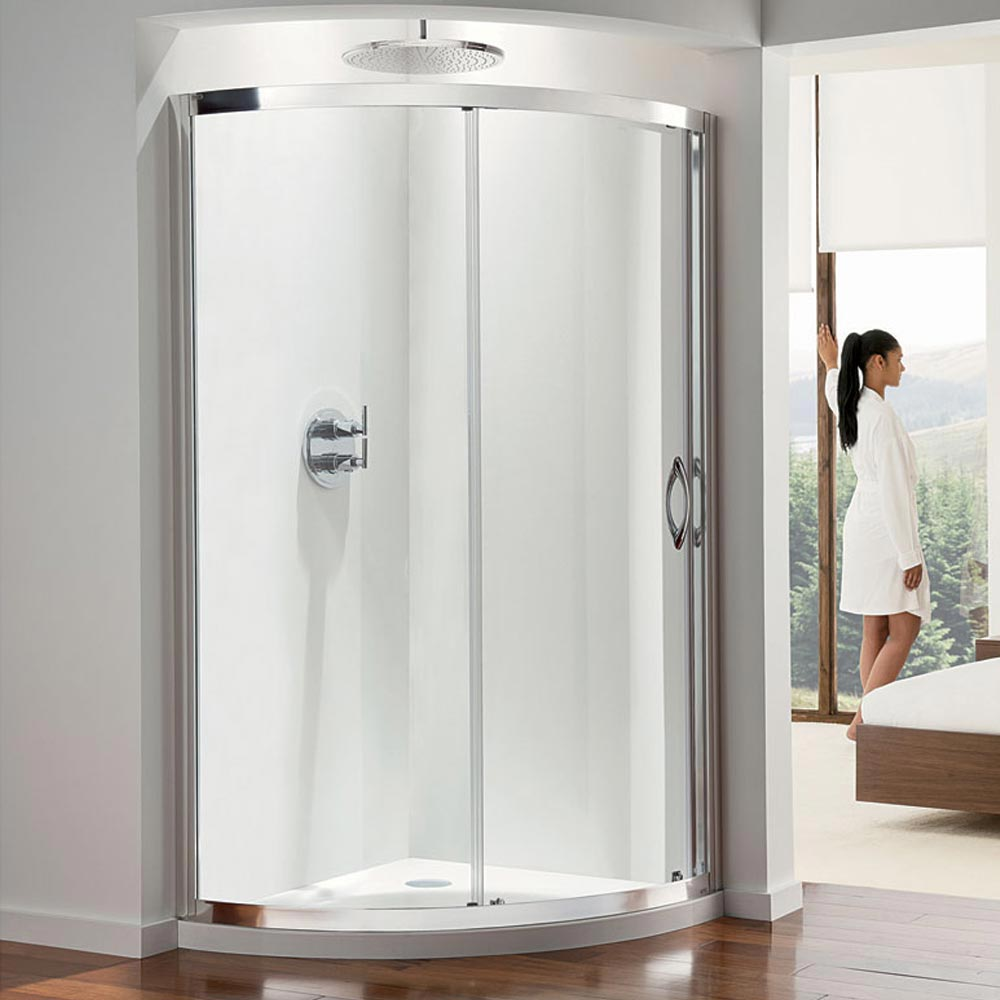 Coram Premier Offset Crescent Shower Enclosure - 1200mm profile large image view 1