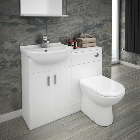 Cove Vanity Unit Cloakroom Suite + Basin Mixer Tap (W1050 x D300mm)