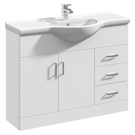 Cove White 1050mm Large Vanity Unit