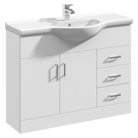 Cove White 1050mm Large Vanity Unit