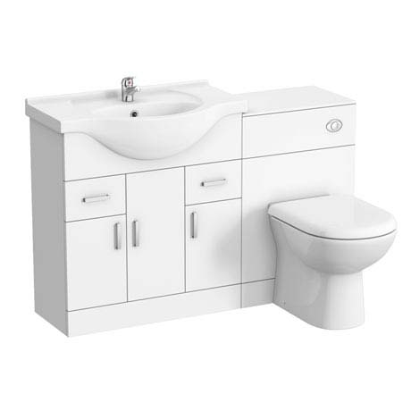 Cove 1250mm Vanity Unit Bathroom Suite + Tap (High Gloss White - Depth 330mm)