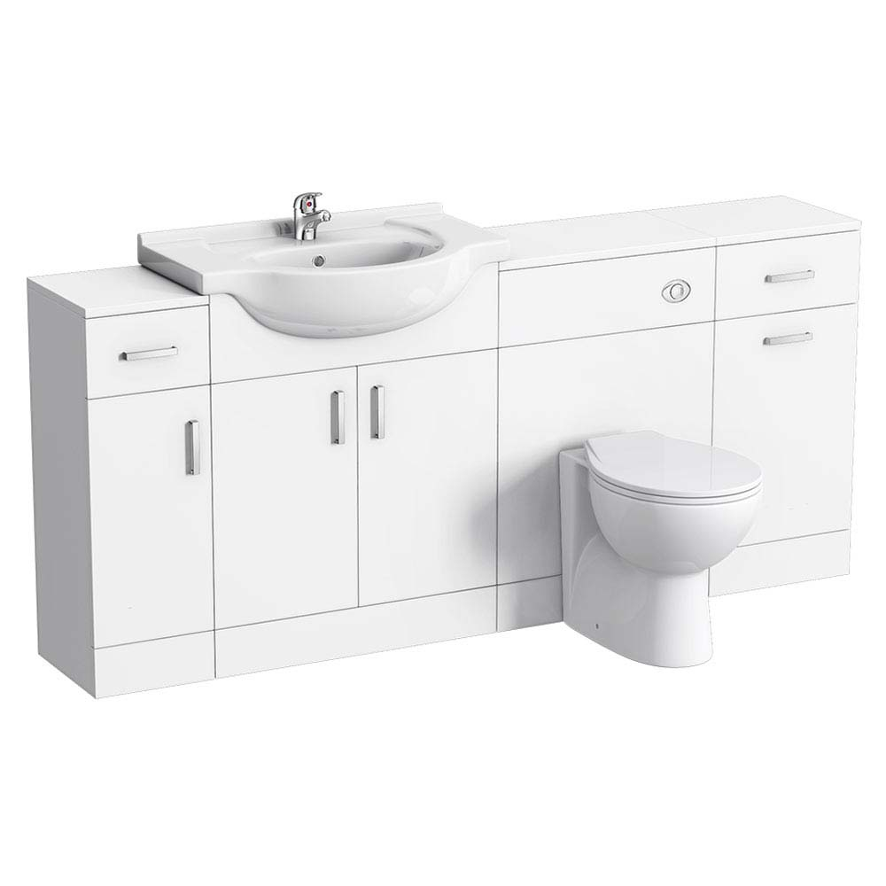 Cove 1720mm 4 Piece Vanity Unit Suite (High Gloss White - Depth 300mm)