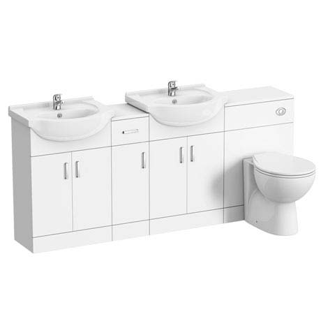 Cove 1850mm Double Basin Vanity Unit Suite (High Gloss White - Depth 300mm)