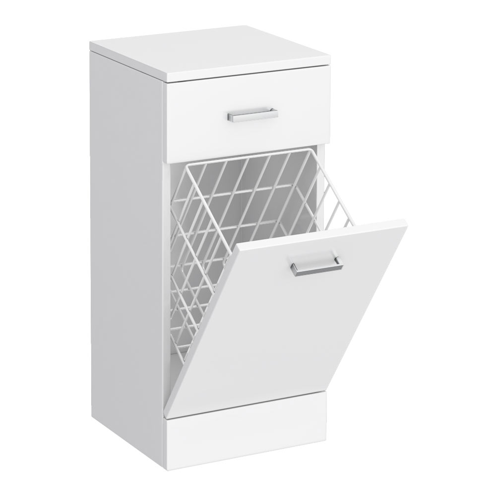 Cove 350x330mm White Laundry Basket profile large image view 1