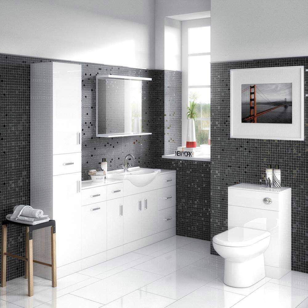 Cove 6 Piece Vanity Unit Bathroom Suite (High Gloss White - Depth 300mm)