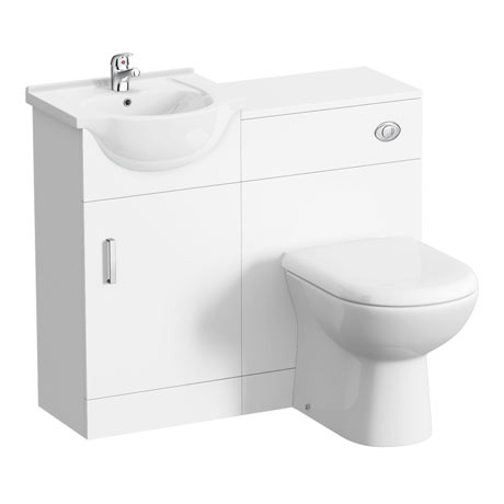 Cove 950mm Cloakroom Vanity Unit Suite + Basin Mixer (Gloss White - Depth 300mm)