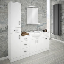 Cove Bathroom Furniture Pack (5 Piece - White Gloss) Medium Image