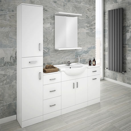 Cove Bathroom Furniture Pack (5 Piece - White Gloss)