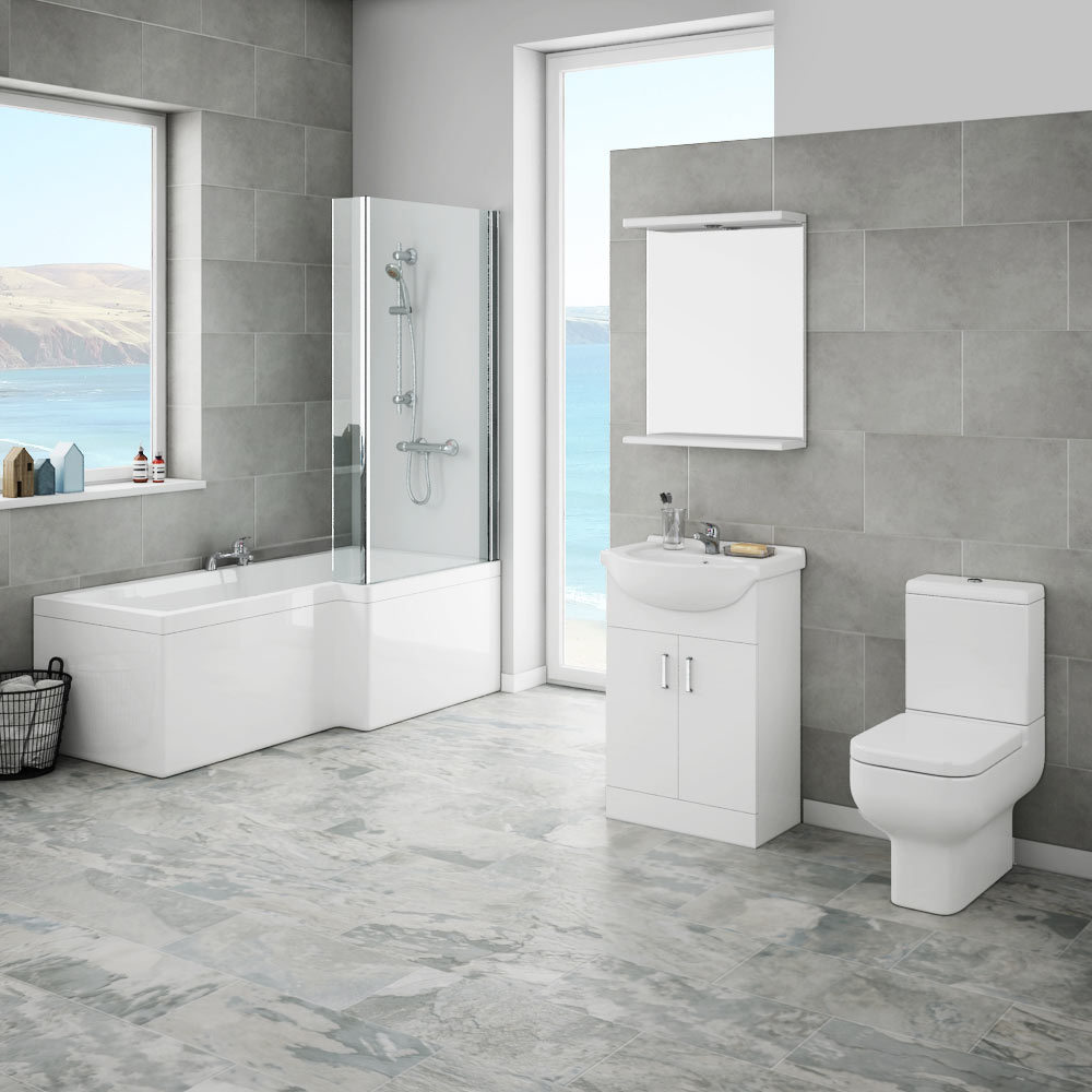Cove Bathroom Furniture Pack 5 Piece: Cove Modern Shower Bath Suite