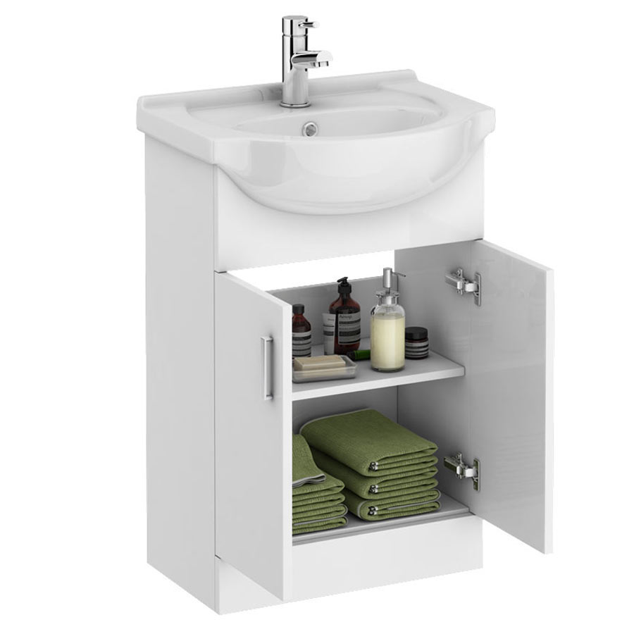 Cove Bathroom Furniture Pack 5 Piece: Cove P-Shaped Modern Shower Bath Suite