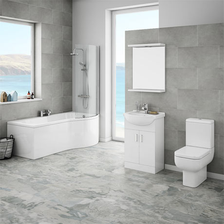 Cove P-Shaped Modern Shower Bath Suite