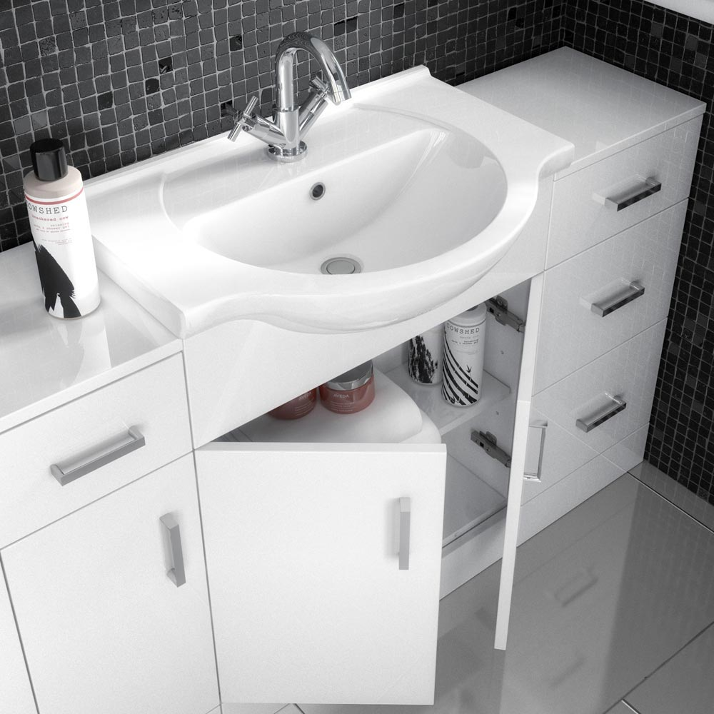Cove White 1200mm Large Vanity Unit profile large image view 2