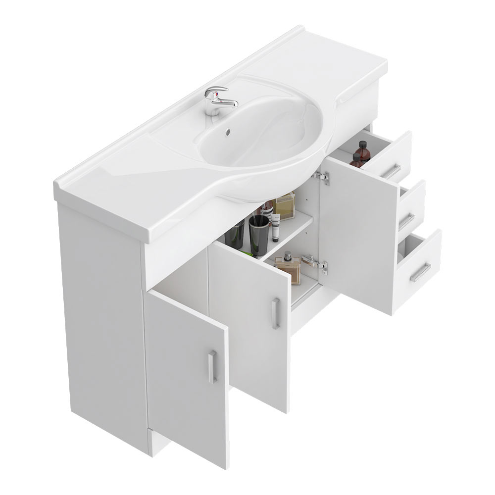 Cove White 1200mm Large Vanity Unit profile large image view 4