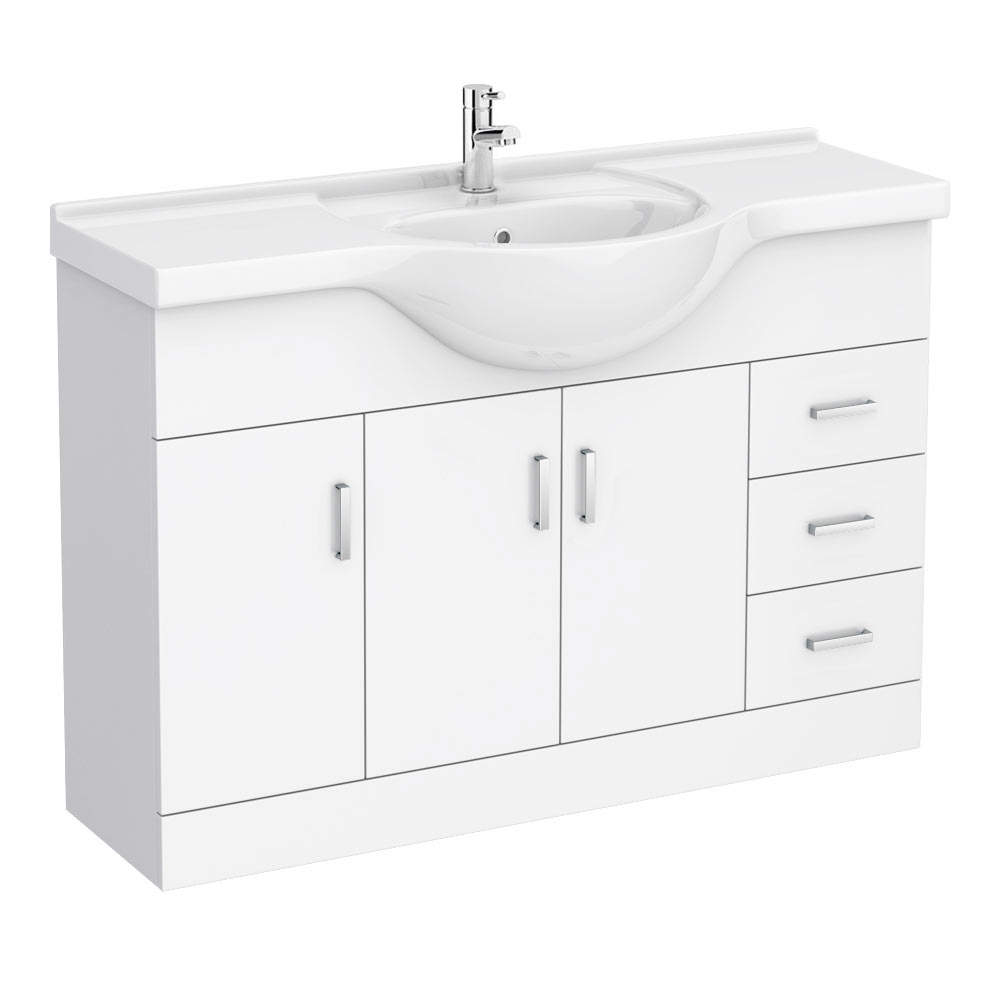 Cove White 1200mm Large Vanity Unit profile large image view 1