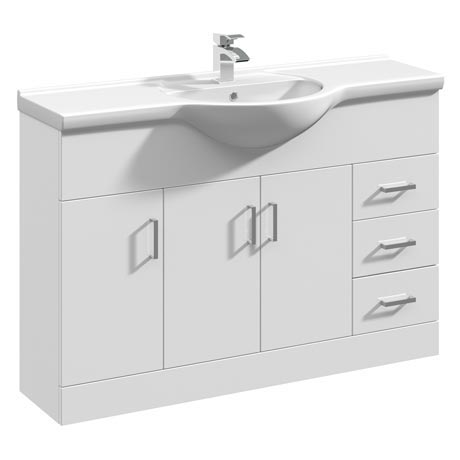 Cove White 1200mm Large Vanity Unit
