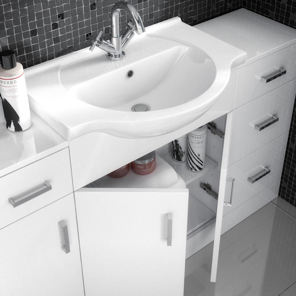 Cove White 850mm Vanity Unit profile large image view 2