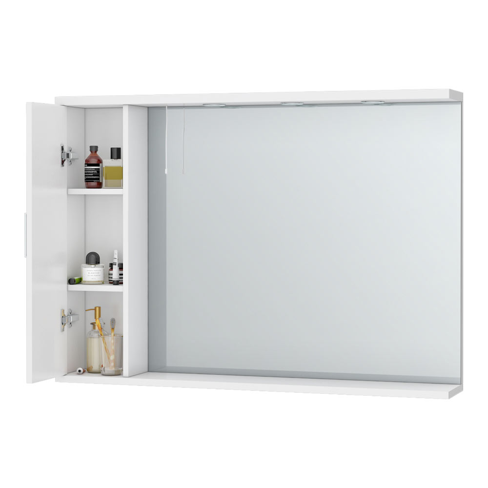 Cove White Illuminated Mirror Cabinet (1050mm Wide) profile large image view 2