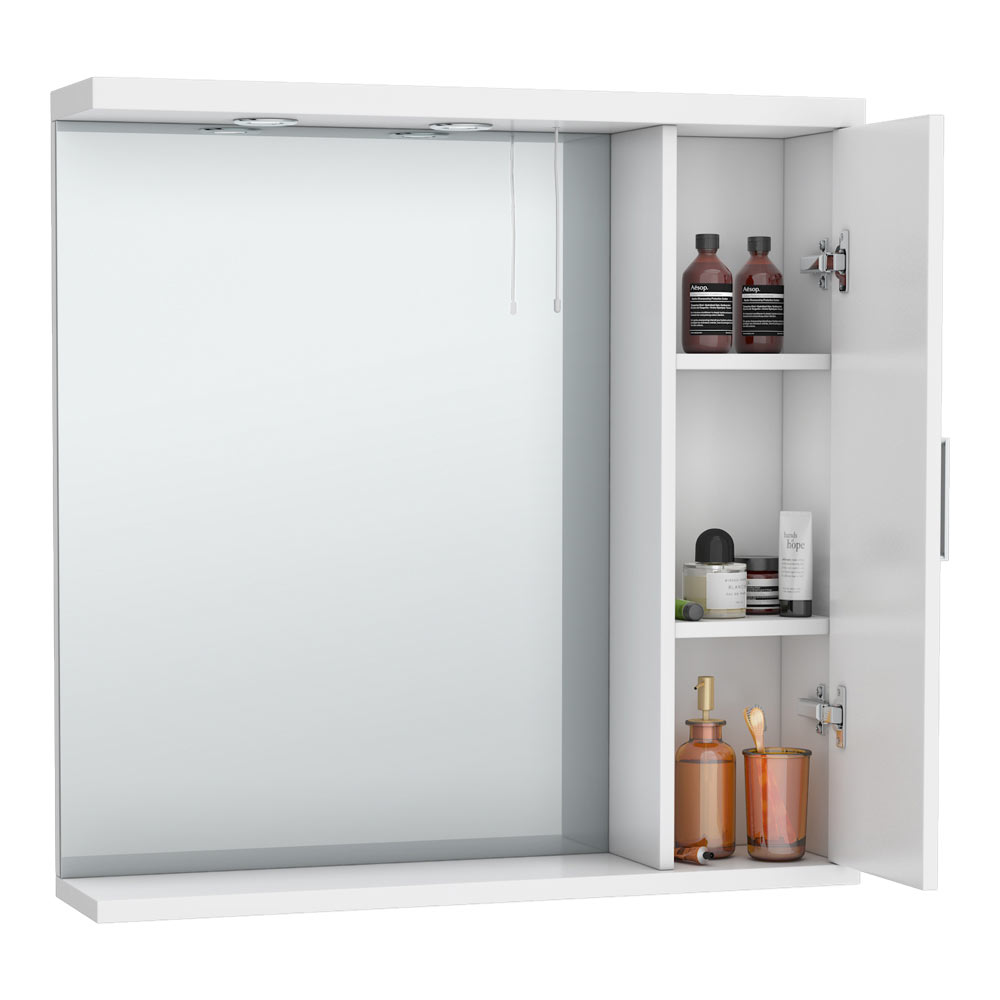 Cove White Illuminated Mirror Cabinet (750mm Wide) profile large image view 2