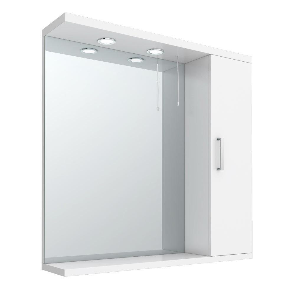Cove white illuminated mirror cabinet 750mm victorian for Bathroom cabinet 750