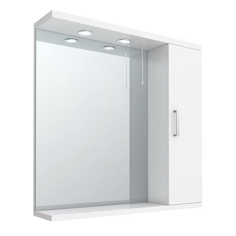 Cove White Illuminated Mirror Cabinet (750mm Wide)