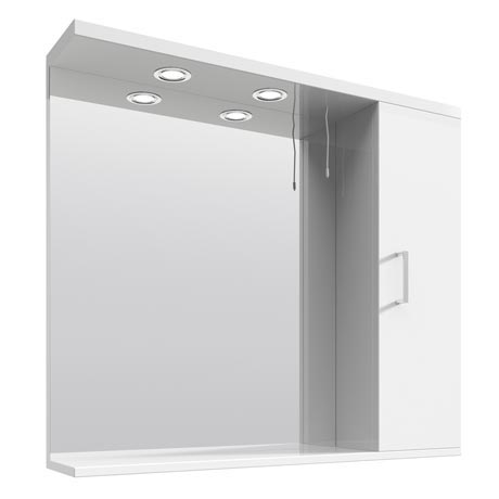 Cove White Illuminated Mirror Cabinet (850mm Wide)
