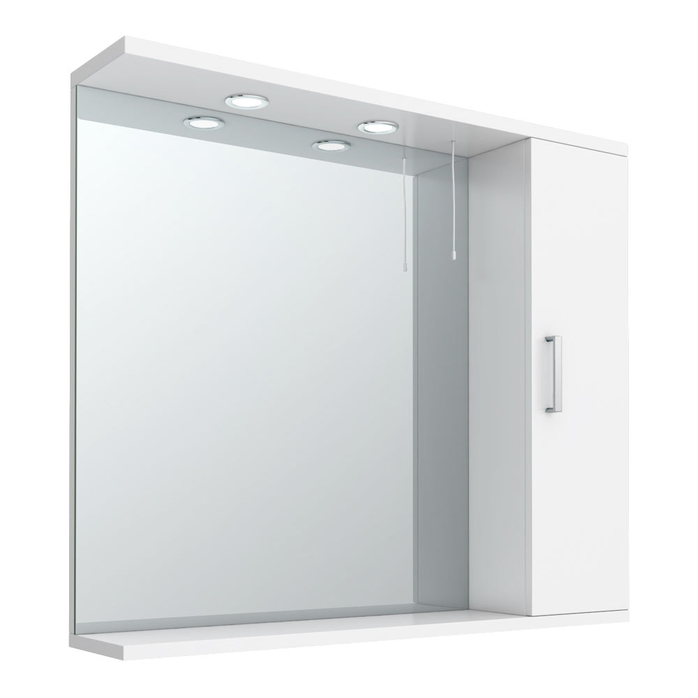 Cove White Illuminated Mirror Cabinet (850mm Wide) Large Image