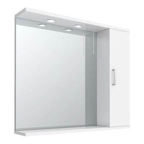 Cove White Illuminated Mirror Cabinet (850mm Wide)