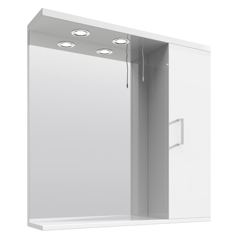 Cove White Illuminated Mirror Cabinet (750mm Wide) Large Image