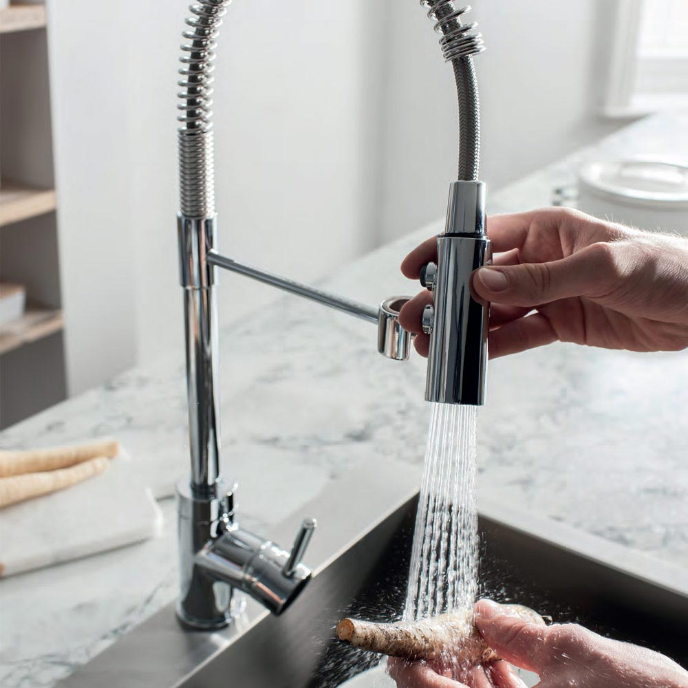 Crosswater Cook Side Lever Kitchen Mixer with Flexi Spray - CO717DC  Feature Large Image