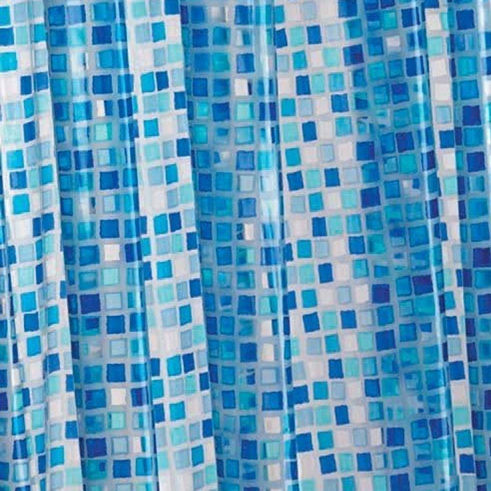 Croydex Blue Mosaic PVC Shower Curtain W1800 x H1800mm - AE543424 Large Image