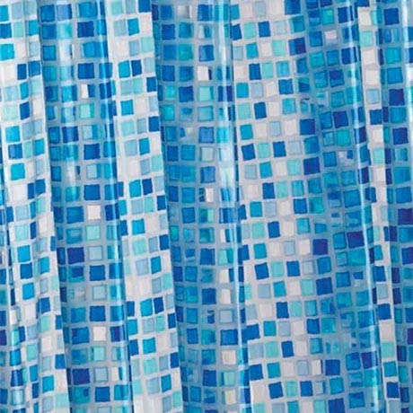 Croydex Blue Mosaic PVC Shower Curtain W1800 x H1800mm - AE543424