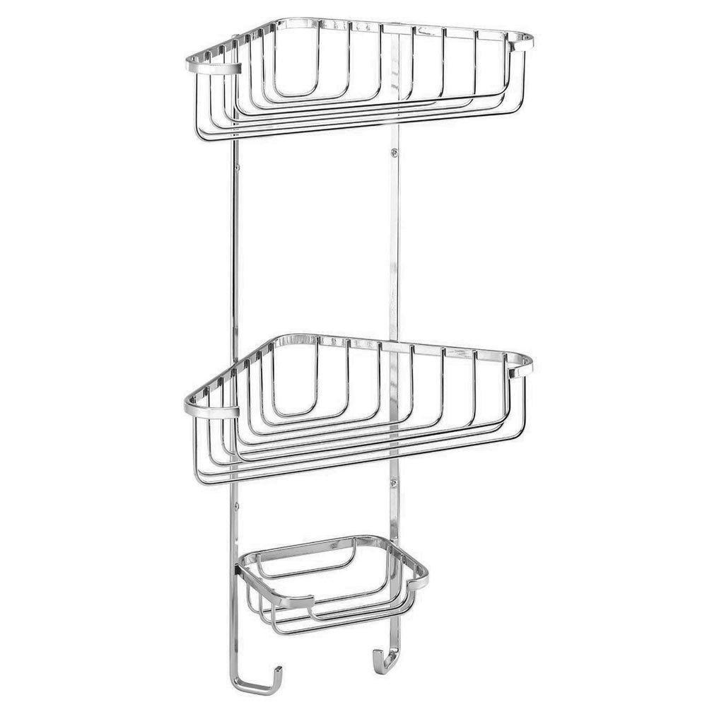 Croydex Corner Shower Storage Basket Chrome - 3 Tier Large Image