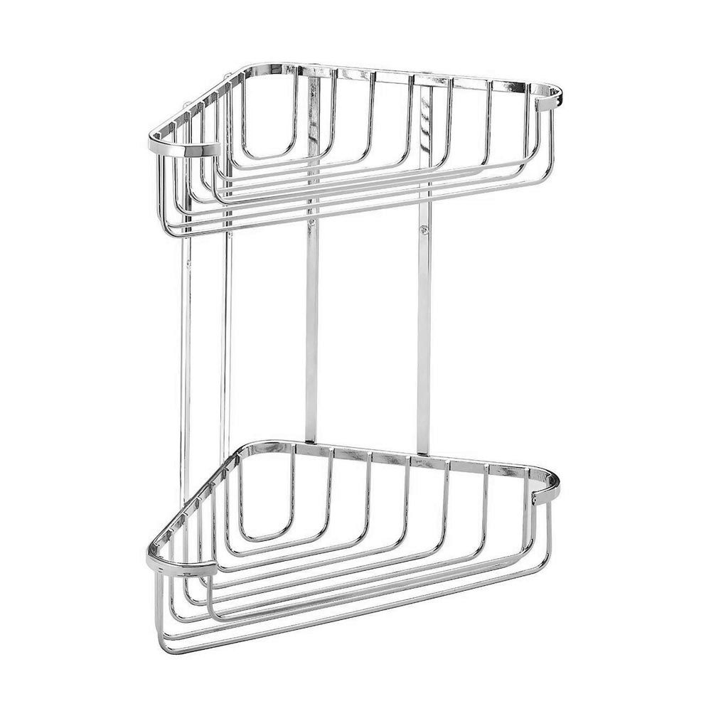 Croydex Corner Shower Storage Basket Chrome (Medium - 2 Tier) Large Image