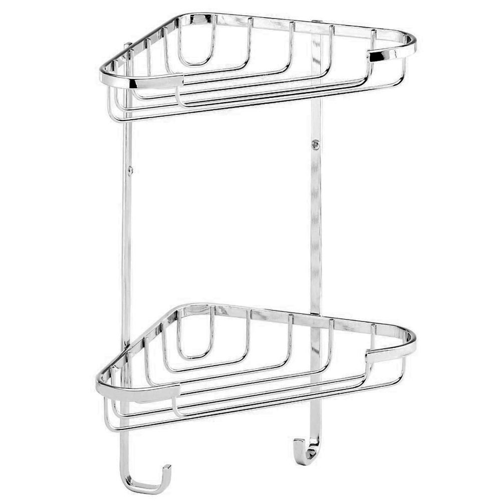 Croydex Corner Shower Storage Basket Chrome (Small - 2 Tier) Large Image