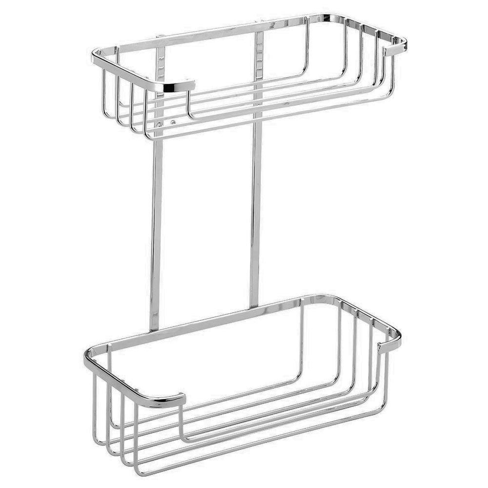 Croydex Shower Storage Basket Chrome - 2 Tier profile large image view 1