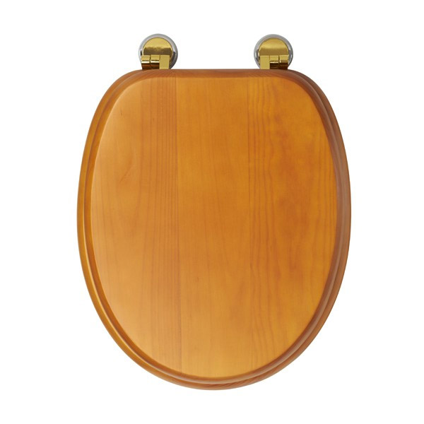 Croydex Sit Tight Douglas Antique Pine Toilet Seat with Brass Hinges - WL530750H Profile Large Image