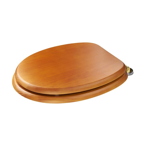 Croydex Sit Tight Douglas Antique Pine Toilet Seat with Brass Hinges - WL530750H Feature Large Image