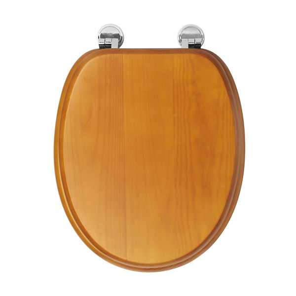 Croydex Sit Tight Douglas Antique Pine Toilet Seat with Chrome Hinges - WL530650H profile large image view 2